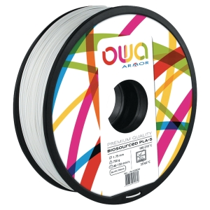 Filament d impression 3D Owa - PLA-S - 1,75 mm - 750 g - blanc