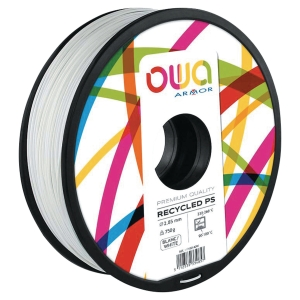 Filament d impression 3D Owa - PS - 1,75 mm - 750 g - blanc