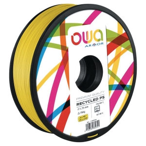 Filament d impression 3D Owa - PS - 1,75 mm - 750 g - jaune