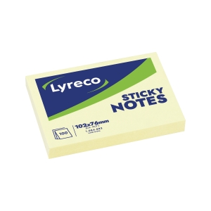 Bloc notes repositonnables Lyreco 100 feuilles 76x102mm jaune