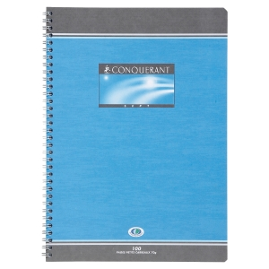 CAHIER SPIRALE INTEGRALE CONQUERANT A4 70G 100 PAGES QUADRILLE 5X5 NF