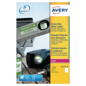 BOITE 20 ETIQUETTES ULTRA RESISTANTES LASER AVERY 210X297MM BLANCHES L4775
