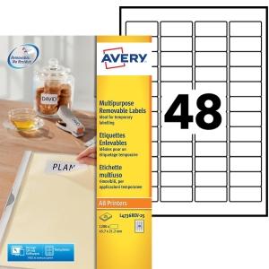 Boite 1200 étiquettes multiusages enlevables Avery 45,7x21,2mm blanches l4736