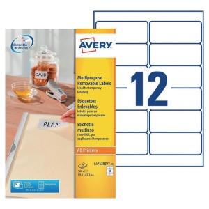Boite 300 étiquettes multiusages enlevables Avery 99,1x42,3mm  blanches l4743