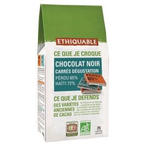 Chocolat noir bio Ethiquable - carré dégustation - boîte de 100 g