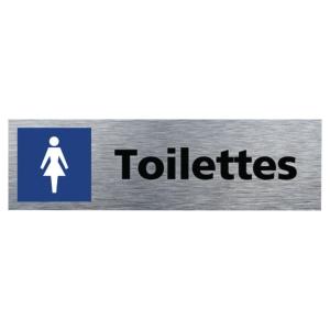 Plaque de porte - Toilettes femmes - 170 x 50 mm - alu brossé