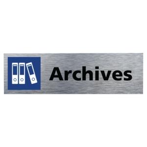 Plaque de porte - Archives - 170 x 50 mm - alu brossé