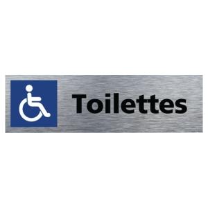 Plaque de porte Toilettes handicapés - 170 x 50 mm - alu brossé