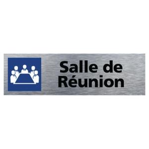 Plaque de porte - Salle de Réunion - 170 x 50 mm - alu brossé