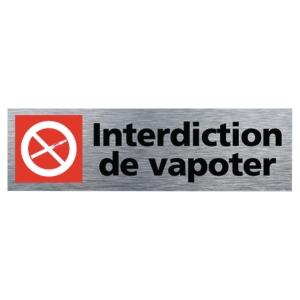 Plaque de porte - Interdiction de vapoter - 170 x 50 mm - alu brossé