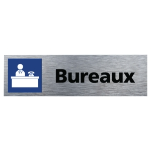 Plaque de porte - Bureaux - 170 x 50 mm - alu brossé