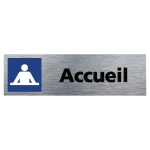 Plaque de porte - Accueil - 170 x 50 mm - alu brossé