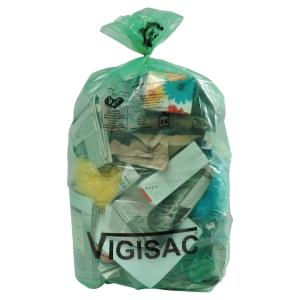 Sacs poubelles Vigisac - 110 L - 38 microns - vert translucide - 250 sacs