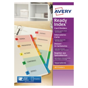 JEU D INTERCALAIRES READY INDEX AVERY 6 TOUCHES EN CARTE TYPE BRISTOL