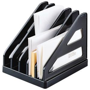 Trieur de bureau avec 6 separateurs en plastique rigide format A5 noir