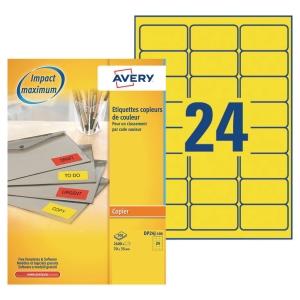 Boite 2400 étiquettes photocopieur AVERY 70x35mm jaune fluo DP24J-100