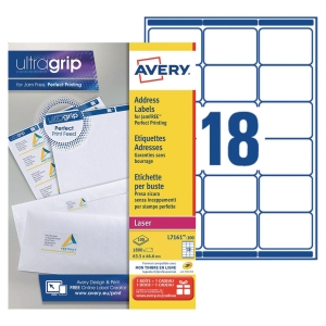 Boite 1800 étiquettes adresses laser Avery 63,5x46,6mm blanches l7161