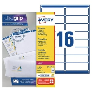 Boite 1600 étiquettes adresses laser Avery 99,1x33,9 mm blanches l7162
