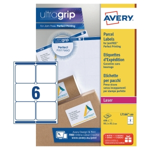 Boite 600 étiquettes d expedition laser opaques Avery 99,1x93,1mm blanches l7166