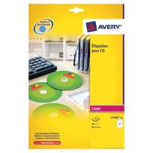 BOITE 50 ETIQUETTES CD/DVD MAXI COUVRANTES LASER AVERY Ø117MM  BLANCHES L7760