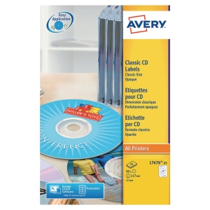 Boite 50 étiquettes cd/dvd maxi couvrantes laser Avery ø117mm blanches l7676