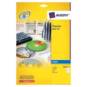 BOITE 50 ETIQUETTES CD/DVD MAXI COUVRANTES JET D ENCRE AVERY Ø117MM J8676