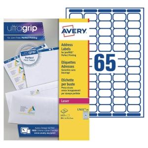 Etiquette mini Avery - L7651-100 - 38,1 x 21,2 mm - blanche - boîte de 6500