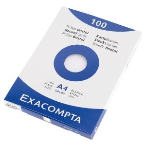 Fiche bristol Exacompta - unie - blanche - 210 x 297 mm - étui 100 fiches