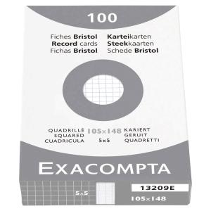 Fiche bristol Exacompta - quadrillée - blanche - 105  x 148 mm - étui 100 fiches