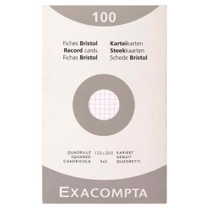 Fiche bristol Exacompta - quadrillée - blanche - 125 x 200 mm - étui 100 fiches