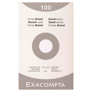 Etui 100 fiches bristol non perforées Exacompta 5x5 205g 125x200mm blanc