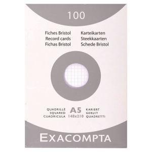 Etui 100 fiches bristol non perforées Exacompta 5x5 205g 148x210mm blanc