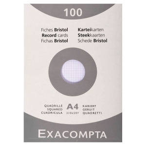 Etui 100 fiches bristol non perforées Exacompta 5x5 205g 210x297mm blanc