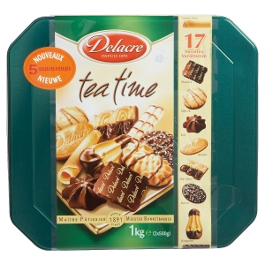 BOITE METAL BISCUITS SUCRES DELACRE TEA TIME 1 KG