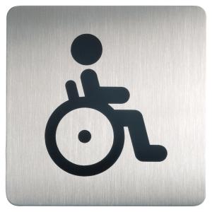 Plaque de signalisation toilettes handicapes Durable métal carre 150x150mm 4959
