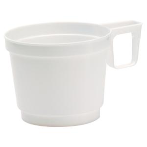 Paquet de 25 tasses expresso blanches en plastique 8cl avec anse de prehension