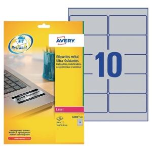 Etiquette ultra-résistante Avery - L6012-20 - 96 x 50,8 mm - argentée - par 200