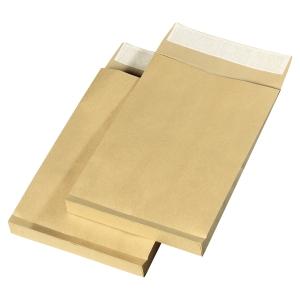 Boite 250 pochettes a soufflet sans fenetre kraft blond silicone 275x365x30 nf