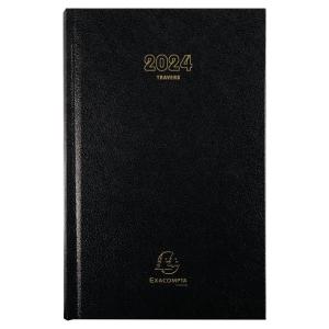 Agenda Exacompta carre travers cousu 21 x 13,5 cm couverture noire