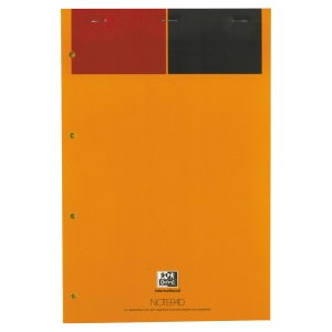 BLOC NOTEPAD OXFORD PERFORE A4+001 INTERNATIONAL 80G 80 FEUILLES JAUNE LIGNE 6MM