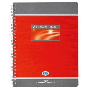 CAHIER SPIRALE INTEGRALE CONQUERANT 70G 180 PAGES 17 X 22 CM LIGNE SEYES NF