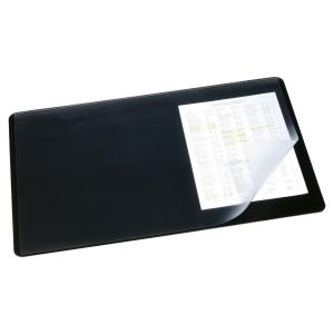 SOUS-MAIN AVEC RABAT TRANSPARENT DURABLE PVC ANTIDERAPANT 65 X 52 CM NOIR