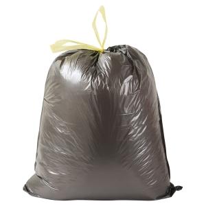 Boîte de 100 sacs poubelles noir à liens coulissants 30L 23 microns 500x650