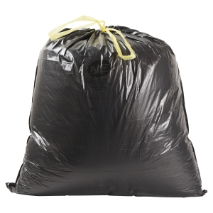 Boîte de 100 sacs poubelles noir à liens coulissants 50L 26 microns 680X750