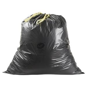 Boîte de 100 sacs poubelles noir à liens coulissants 100L 34 microns820x900