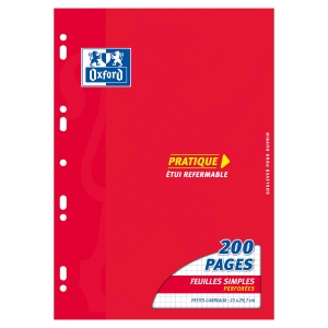PAQUET 100 COPIES SIMPLES PERFOREES OXFORD 90G A4 BLANC QUADRILLE 5X5