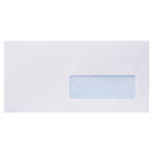 BOITE 500 ENVELOPPES A FENETRE 35X100 DL LYRECO 80G NF SILICONEE BLANC