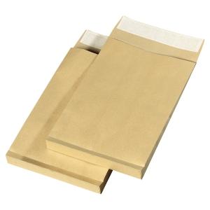 Boite 250 pochettes a soufflet sans fenetre b4 kraft 120g bande siliconee blond