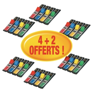 Lot 6 packs (4+2 offerts) distributeurs marque-page Post-it etroits coloris ass