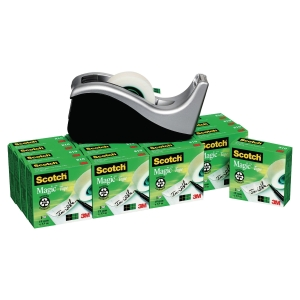 Pack de 16 rouleaux Scotch magic 810 19mmx33m + Dévidoir c60 offert